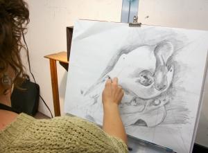 Tanya drawing Javalina skull.
