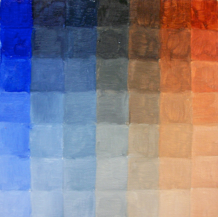 Pure ultramarine blue on the left hand vertical row, and burnt sienna on the right.