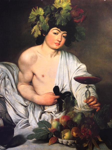 "Color reproduction of Caravaggio's ""Baachus""."