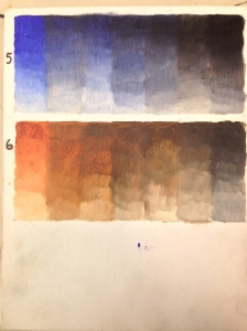 Ultramarine blue/Ivory black; burnt sienna/ivory black.
