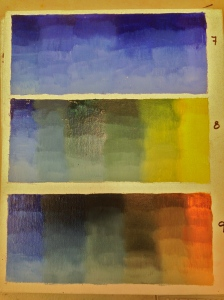 Cobalt/ultramarine blue; cobalt/cad yellow light; cobalt/burnt sienna.