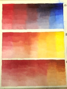 Cadmium red deep/ultramarine; cad red deep/cad yellow light; ad red/burnt sienna.