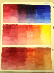 Alizarin crimson/ultramarine blue; alizarin/cad yellow light; alizarin/burnt sienna.
